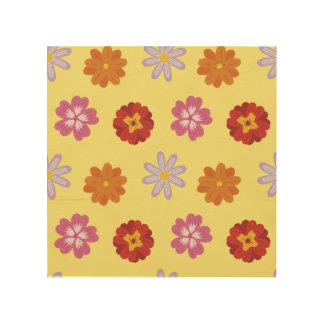 Retro Floral Daisy Pattern on Yellow Wood Print