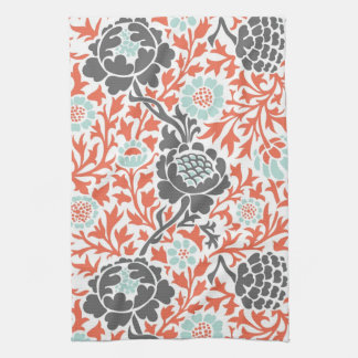 Retro Floral Damask Tea Towel