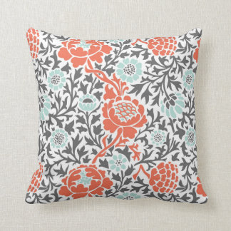 Retro Floral Damask Throw Pillow