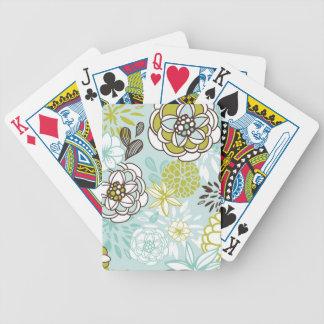 Retro Floral Design in Green & Blue Card Decks