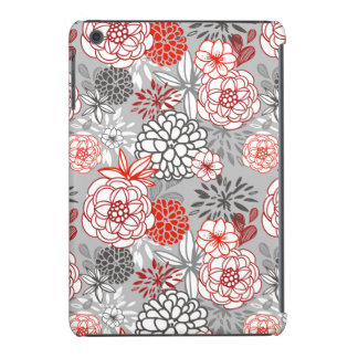Retro Floral Design in Red & Black iPad Mini Case