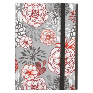Retro Floral Design in Red & Black iPad Air Cases
