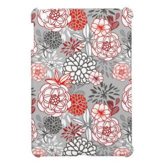 Retro Floral Design in Red & Black iPad Mini Cover