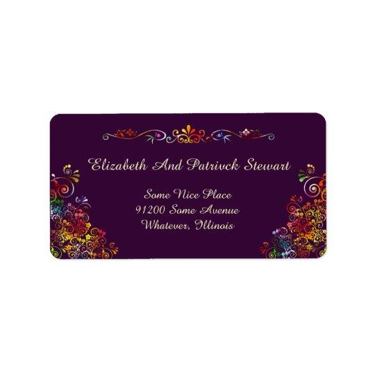 Retro Floral Elegant Stylish Wedding Shipping Address Label