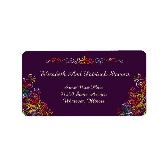 Retro Floral Elegant Stylish Wedding Shipping Label