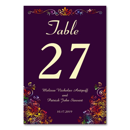 Retro Floral Elegant Stylish Wedding Table Card
