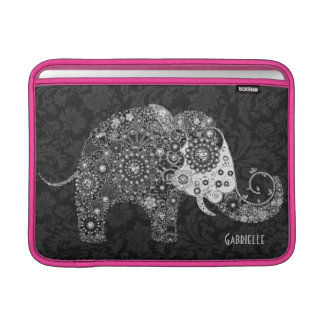 Retro Floral Elephant Design-Black & White Sleeve For MacBook Air