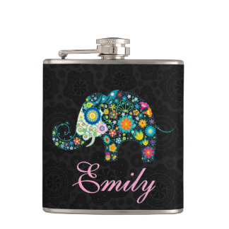 Retro Floral Elephant Design Hip Flask