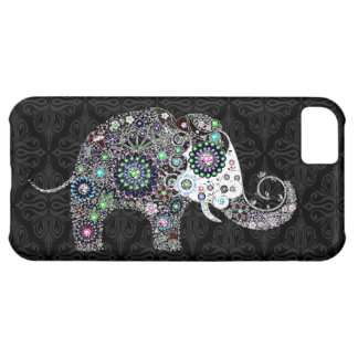 Retro Floral Elephant With Colorful Diamond Stids iPhone 5C Case