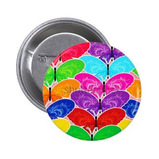 retro, floral, flowers, decorative, ornamental, ar 6 cm round badge