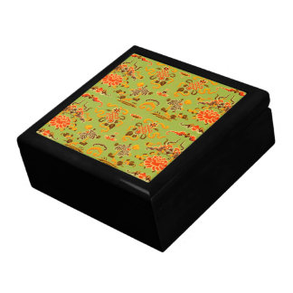 Retro Floral in Green, Orange, and Brown Large Square Gift Box