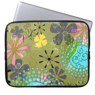 Retro Floral Laptop Computer Sleeve