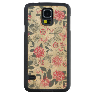 Retro Floral Pattern 2 3 Carved Maple Galaxy S5 Case