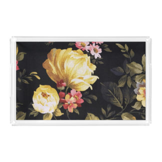 retro floral pattern acrylic tray