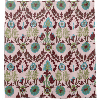 Retro Floral Pattern - Pink, Turquoise, Brown Shower Curtain