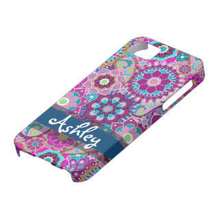 Retro Floral Pattern with Name iPhone 5 Cover