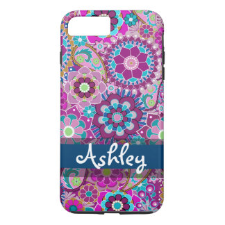 Retro Floral Pattern with Name iPhone 7 Plus Case