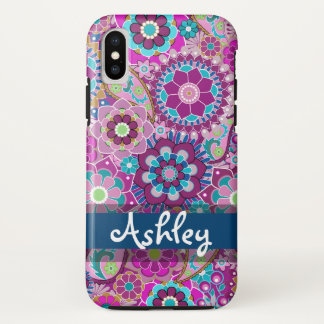 Retro Floral Pattern with Name iPhone X Case