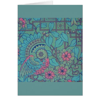 Retro Floral Peacock Greeting Cards