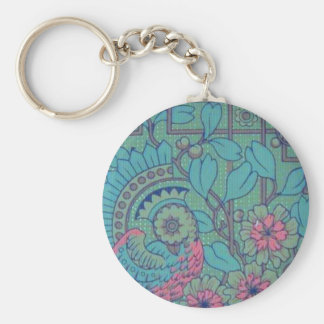 Retro Floral Peacock Key Ring