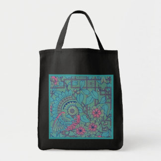 Retro Floral Peacock Reusable Black Tote Bag
