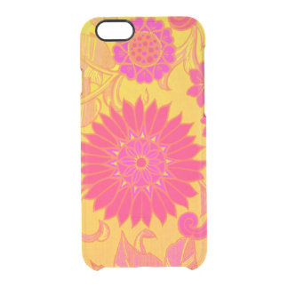 Retro Floral Pink and Yellow Clear iPhone 6/6S Case