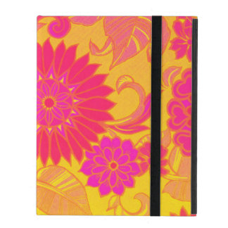Retro Floral Pink and Yellow iPad Case