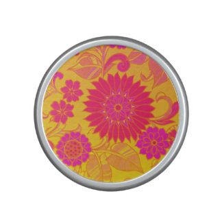 Retro Floral Pink and Yellow Speaker