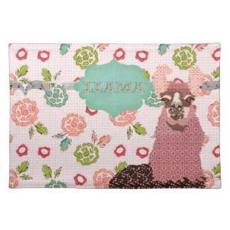 Retro Floral Pink Llama Placemat