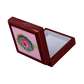 Retro Floral Rose Bouquet Pink Gift Boxes