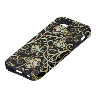 Retro Floral Swirls Silver Tones-Black Background iPhone 5 Cases