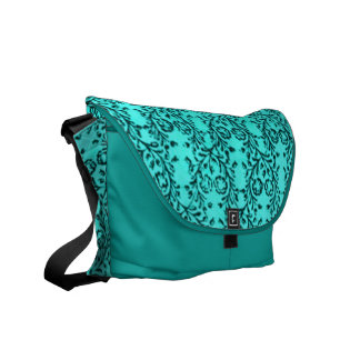 Retro Floral Teal Peacock Messenger Bag