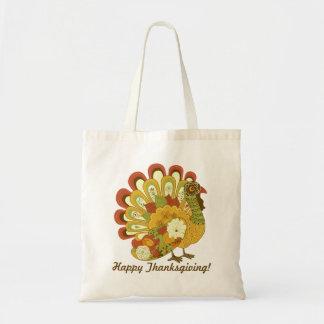RETRO FLORAL TURKEY HAPPY THANKSGIVING FAVOR BAG