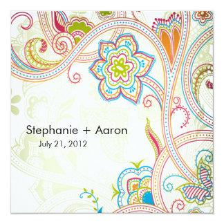 """Retro Floral Wedding Invitation 5.25"""" Square Invitation Card"""