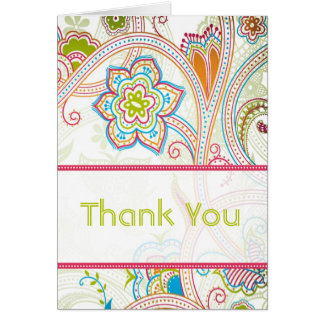 Retro Floral Wedding Thank You Cards