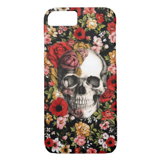 Retro florals with skull pattern iPhone 7 case