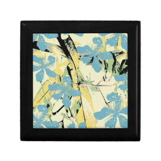 retro flower blue and yellow small square gift box