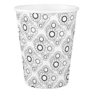Retro Flower Line Art Design Paper Cup