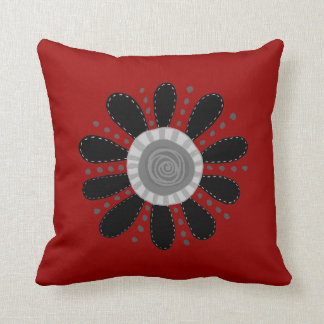 Retro Flower on Red Background Cushion