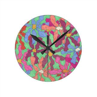 Retro Flower Pattern Boho Design Round Clock