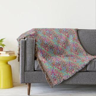 Retro Flower Pattern Boho Design Throw Blanket