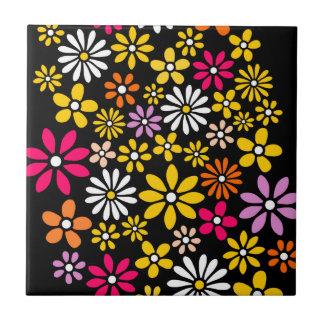 Retro Flower pattern Small Square Tile