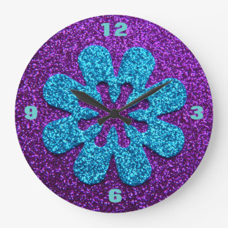 Retro Flower Purple & Blue Glitter Look Clocks