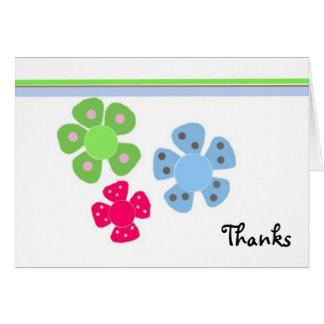 Retro Flower Thanks Note Card