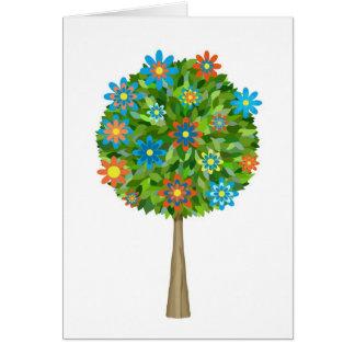 Retro flower tree card