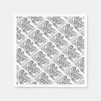 Retro Flower Vase Line Art Design Paper Napkin