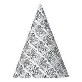 Retro Flower Vase Line Art Design Party Hat