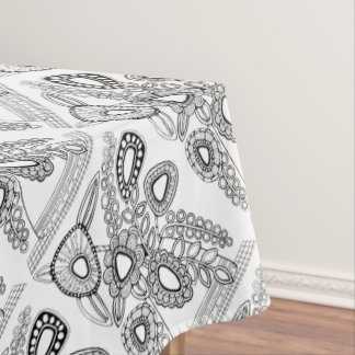 Retro Flower Vase Line Art Design Tablecloth