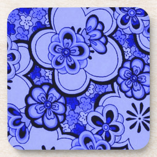 Retro Flowers Abstract Sapphire Blue Cork Coaster