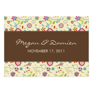 Retro Flowers · Brown· Wedding Favor Tag Business Card